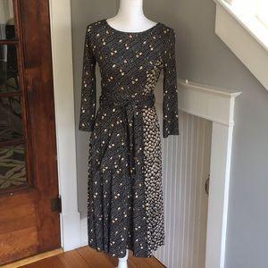 Boden black/tan floral-print dress